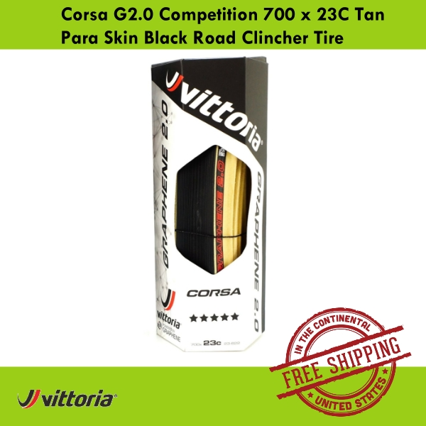 Vittoria Corsa G2.0 Competition 700 x 23C Skin Black Tan Para Road Clincher Tire