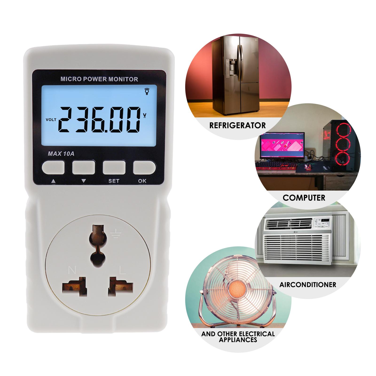 Plug in Power Meter Electricity Analyzer Monitor Socket Voltage Wattmeter Tester