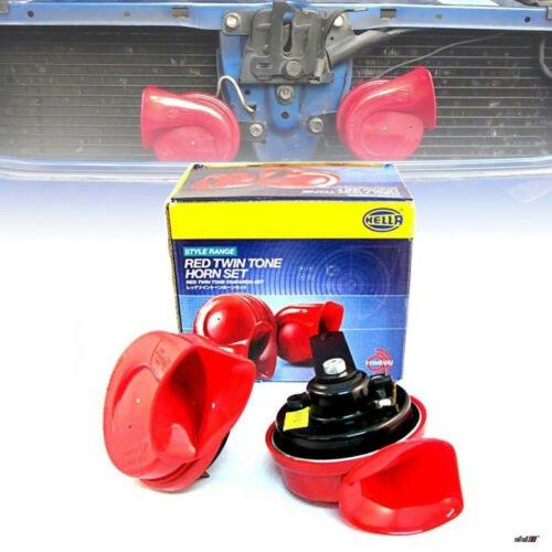 Pair Hella Red Twin Tone Hella Horn Set 12V Ute 4x4 4WD SUV Subaru WRX EVO BMW