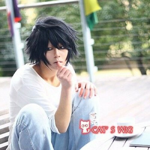 Death Note L Lawliet Short Layered Cosplay Wig Uk Ebay