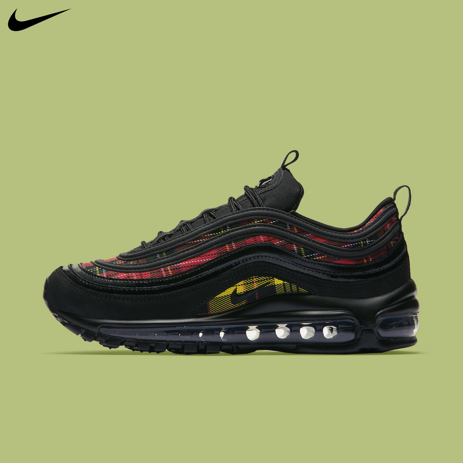 Details about Nike Women's Air Max 97 SE Tartan Black University Red Running Shoes AV8220 001