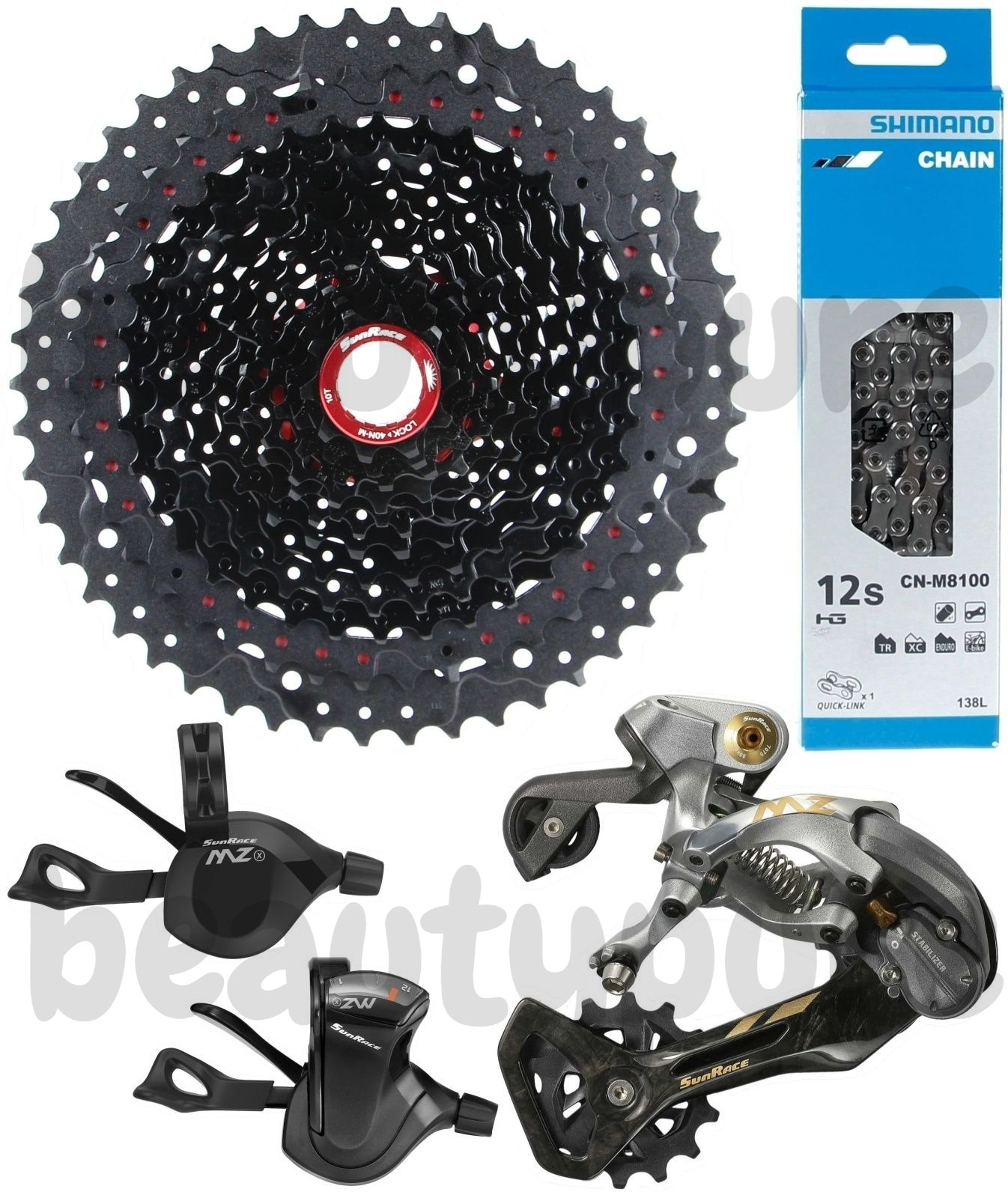 SunRace 12-Speed Chain w Master Link For SRAM Shimano 12 speed DriveTrain Silver