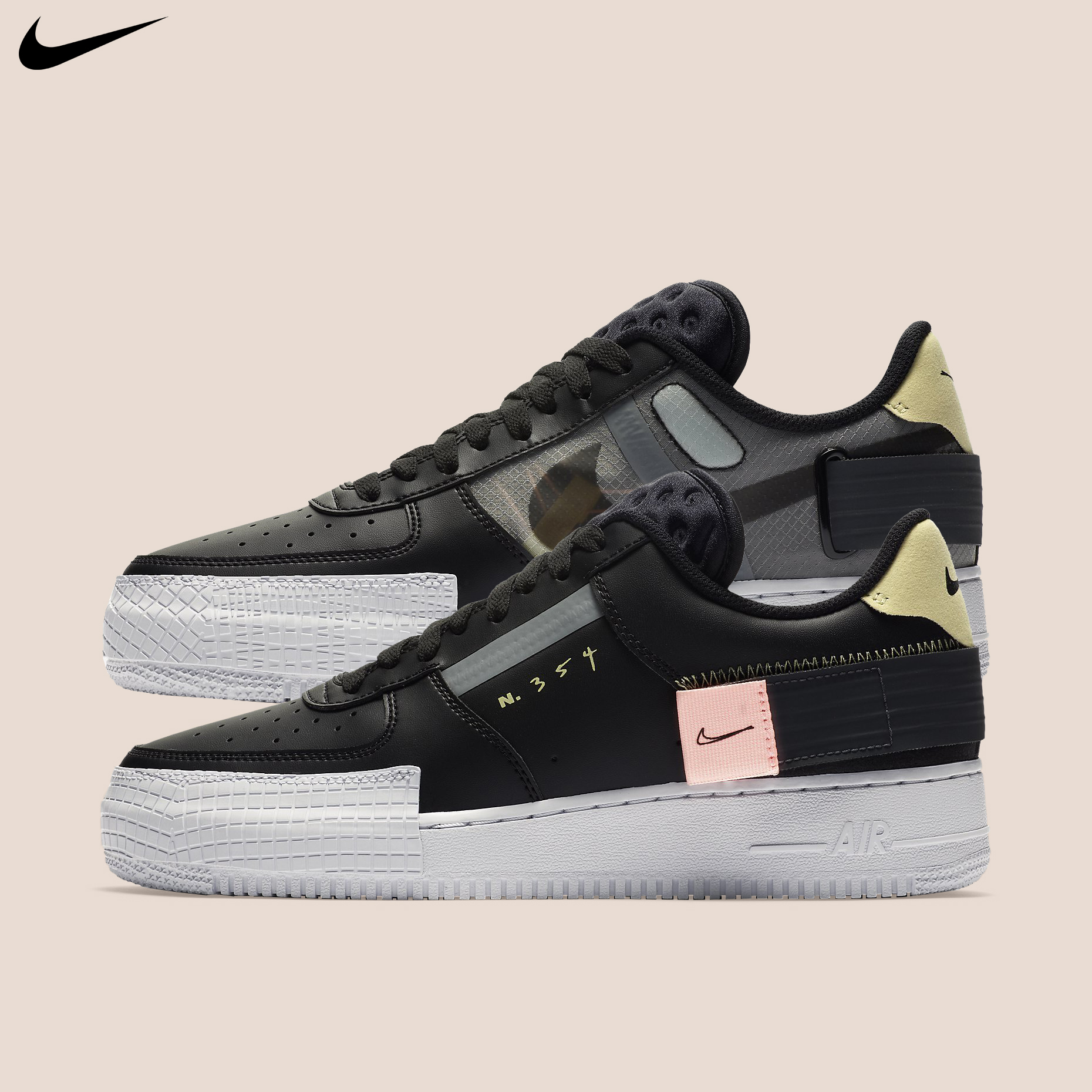 Nike Air Force 1 Type Mens AF 1 Black Casual Lifestyle Sneakers Shoes CI0054 001