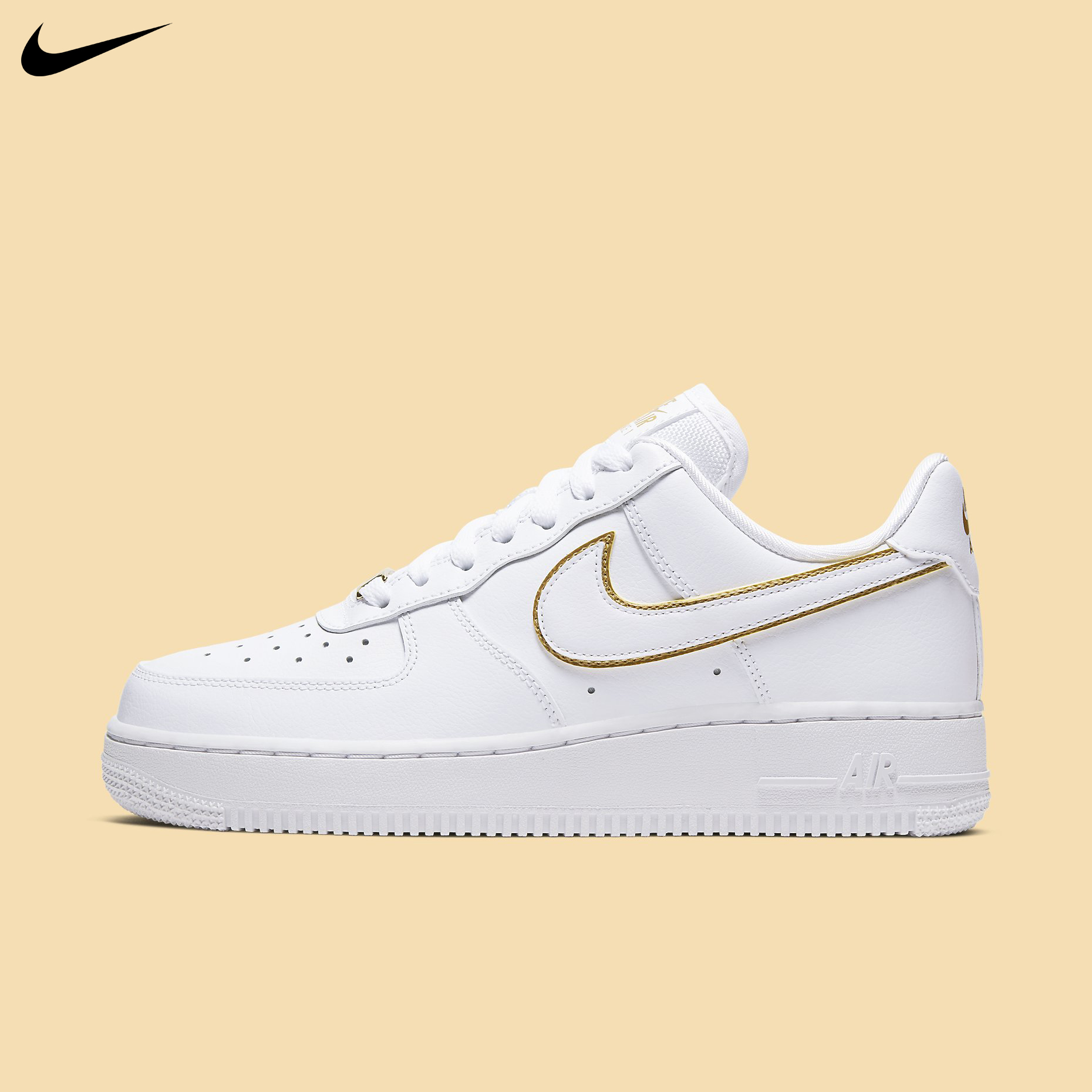 Details about Nike Women's Air Force 1 '07 Essential White Gold Metallic  Casual ESS AO2132-102