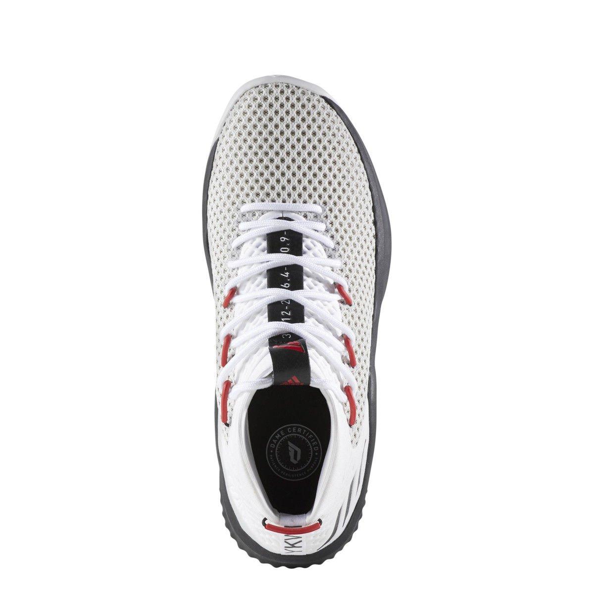 ADIDAS DAME 4 Mens White Black Red Lillard Basketball Sneaker BY3759 ... eb6cbe26f