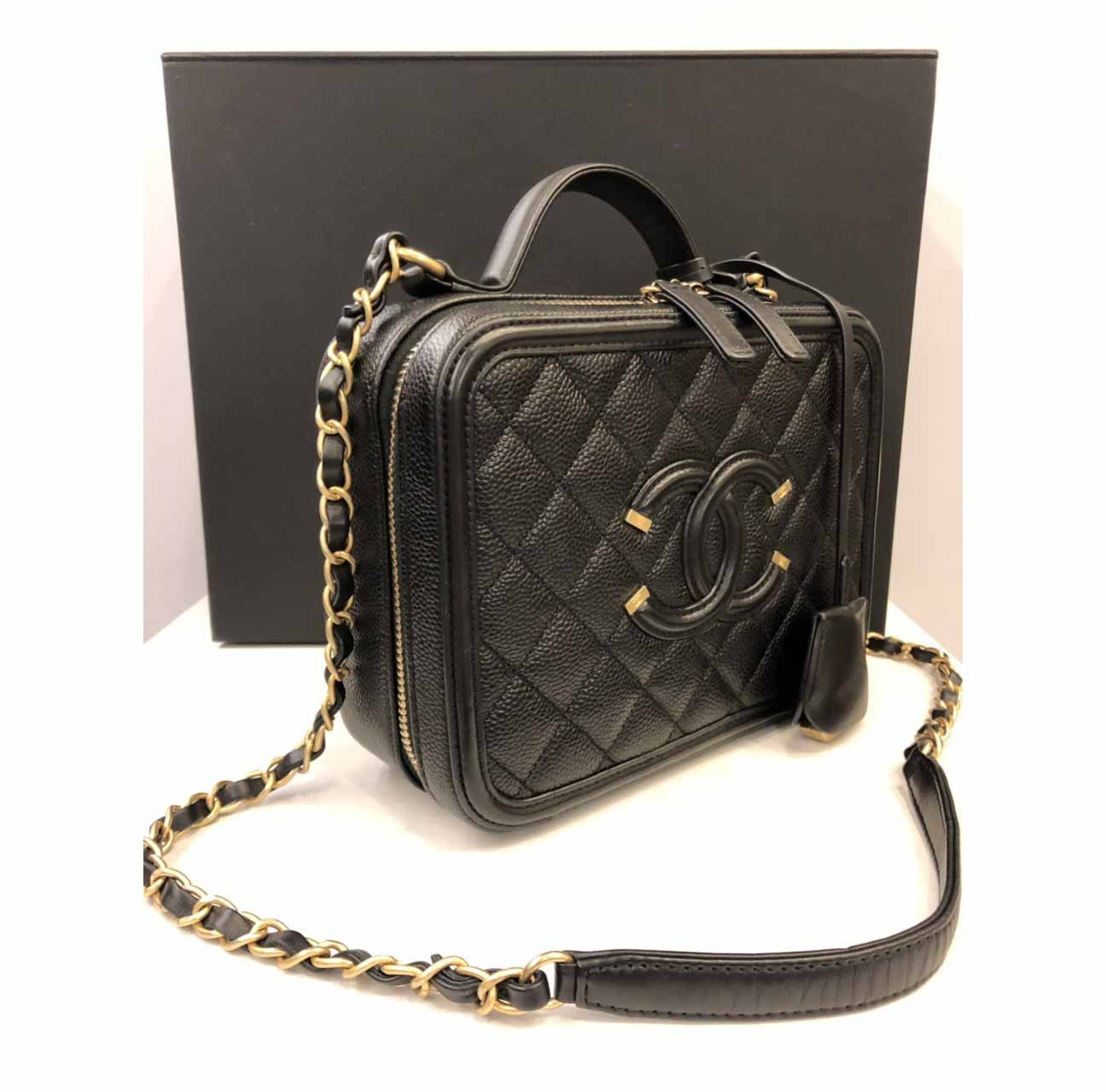 b29d4877b0c3 Details about Authentic Chanel Caviar Quilted Leather Filigree Vanity Case  Lunch Box Bag