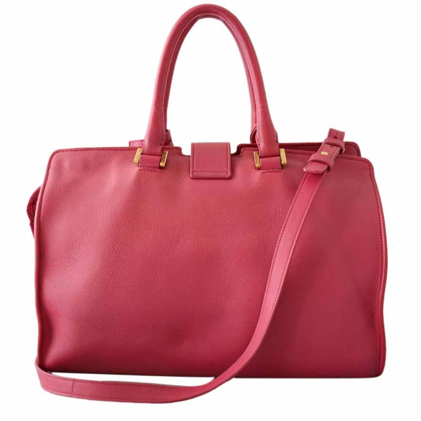 5960ec79e50aa Details about Authentic Yves Saint Laurent YSL Pink Leather Cabas Y Tote Bag  + Strap