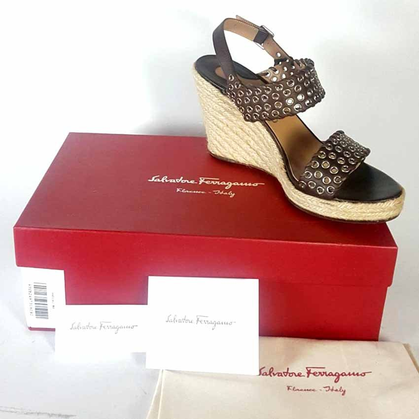 c1a1b34a5 Authentic Salvatore Ferragamo Brown Leather Studded Raffia Wedge Sandals 9.  U1007