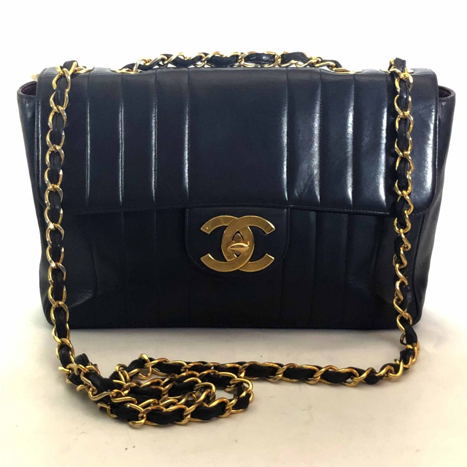c48191689412 Details about Authentic Chanel Black Veritcal Quilted Lambskin Leather Jumbo  Flap Bag