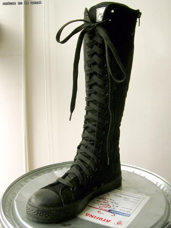 Kera Punk Emo Gothic Goth Knee High Canvas Sneaker Boot Ebay