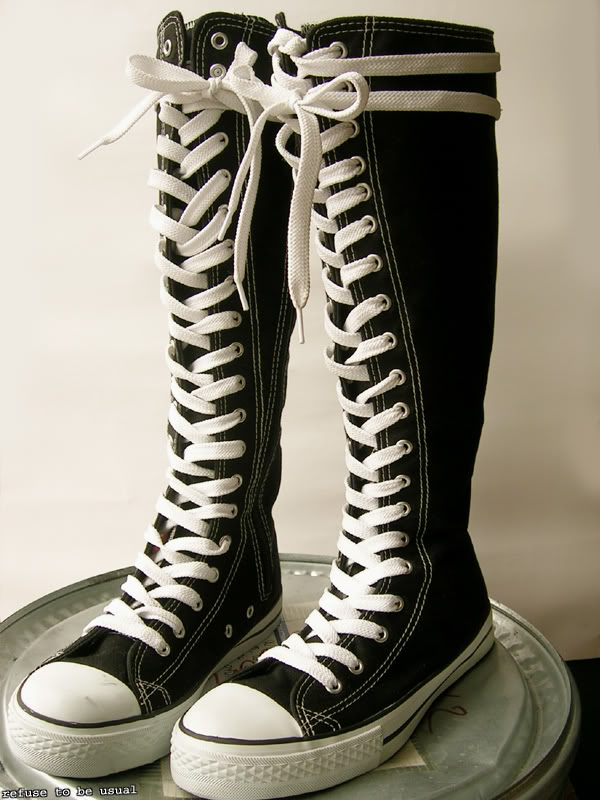 kera punk emo gothic goth knee high canvas sneaker boot ebay